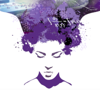 Artistic interpretation of a woman in purple colors, her hair becomes a river of thoughts flowing out of her hair. This is a clickable link.