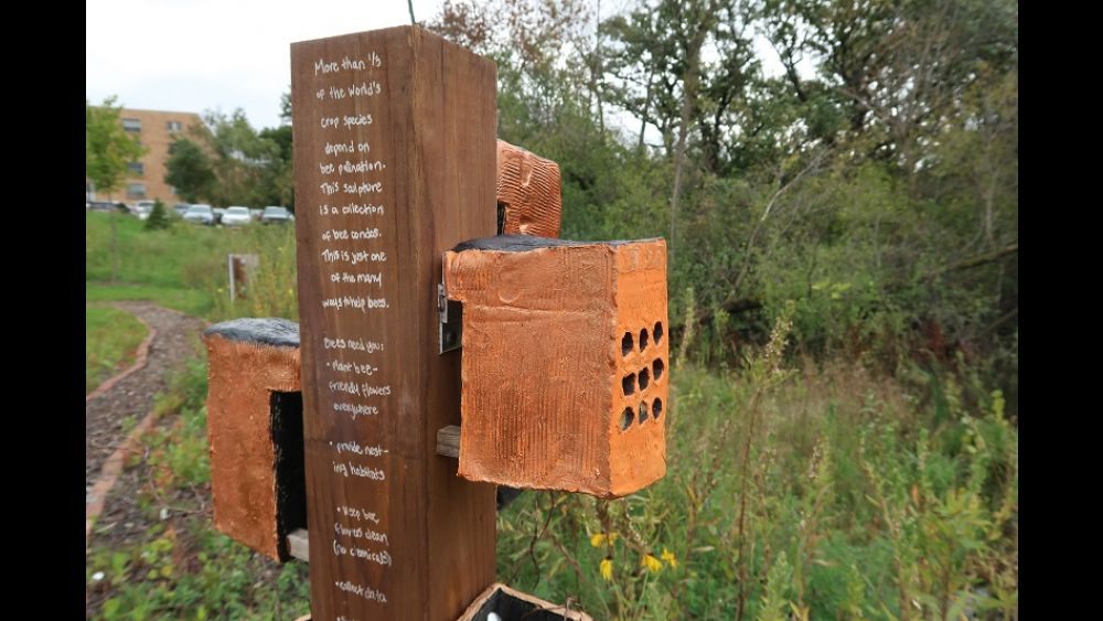 Bee condos in the pollinator commons