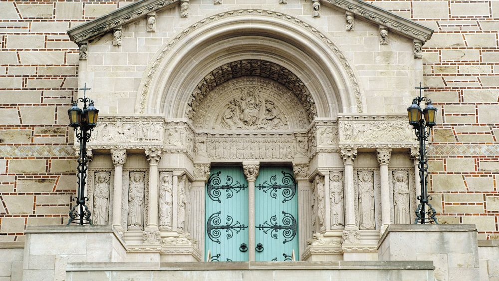 Iconic turquoise doors of Our Lady of Victory Chapel