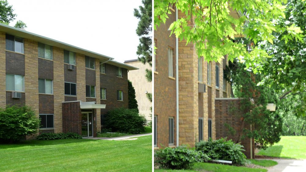 Stanton and Crandall Halls are smaller residence halls, connected by an above-ground walkway. Each building hosts 50 first-year students.