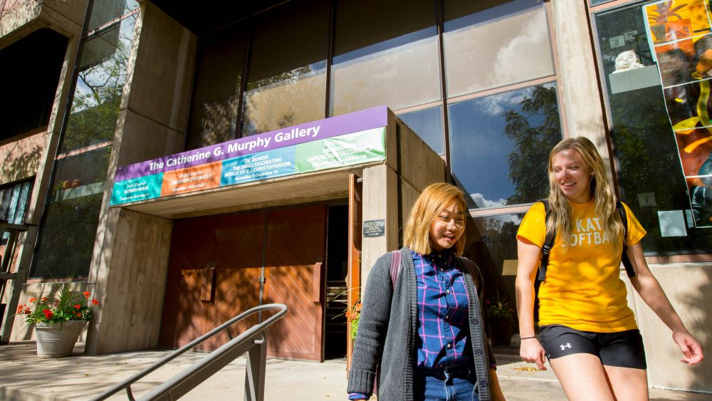 The Visual Arts building was constructed in 1970 for classroom and gallery spaces. It is home to the Catherine G. Murphy Gallery, which features local women artists.