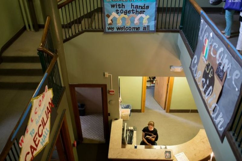 Overhead look of Caecilian Hall's foyer