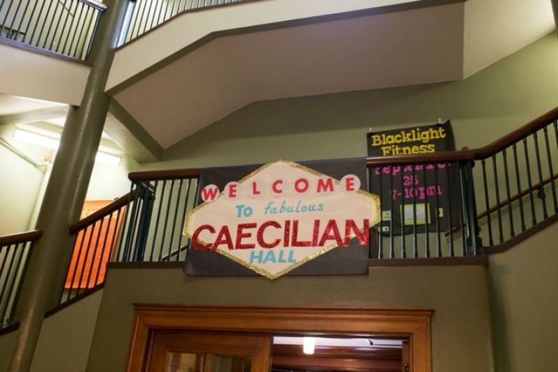 Stairs and Welcome Sign at Caecilian Hall