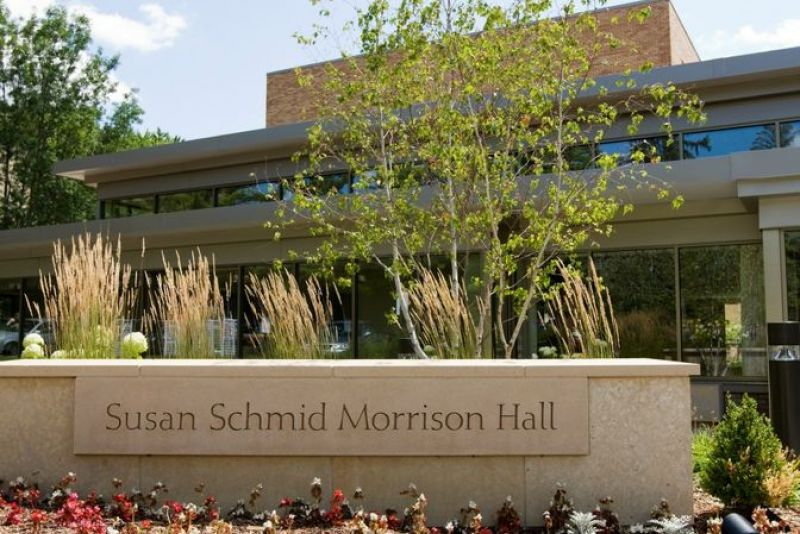 Outside Shot of Morrison Hall with stone name plaque at front