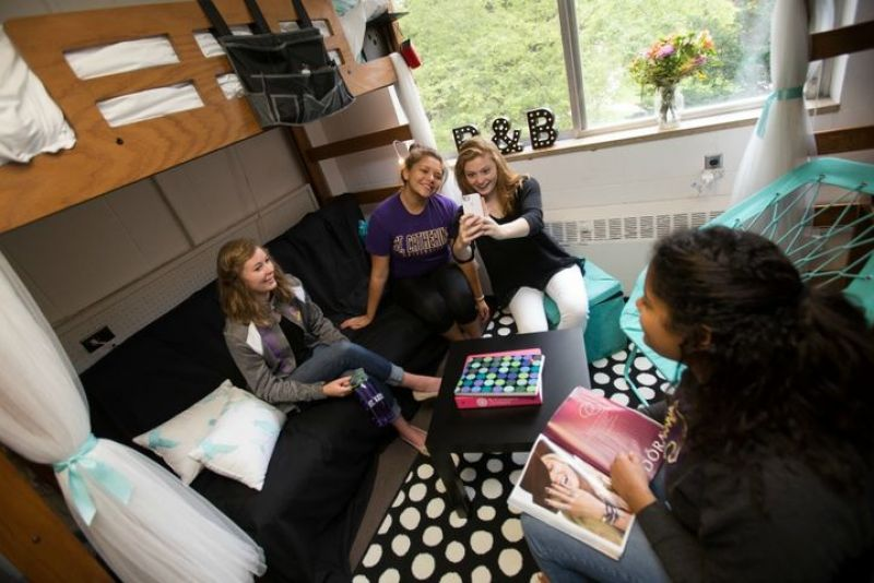 Interior Shot of St. Mary Hall Dorm Room with Students