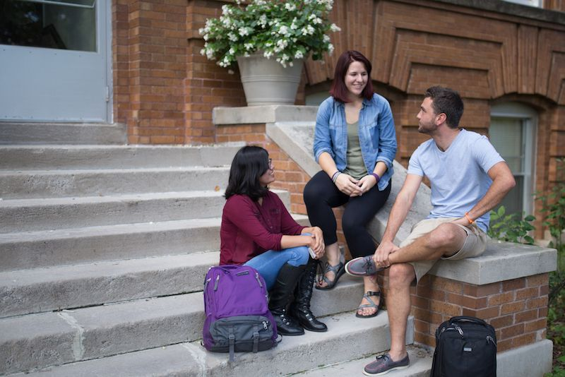 St. Catherine University College for Adults students on Fontbonne steps.