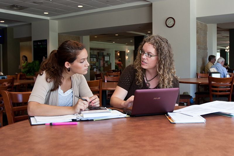 Psychology major students studying on the St. Paul, Minnesota campus of St. Catherine University.