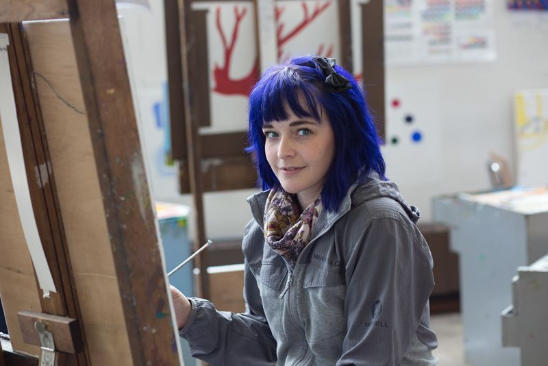 Studio art student in the Visual Arts Building at St. Catherine University in St. Paul, Minnesota.