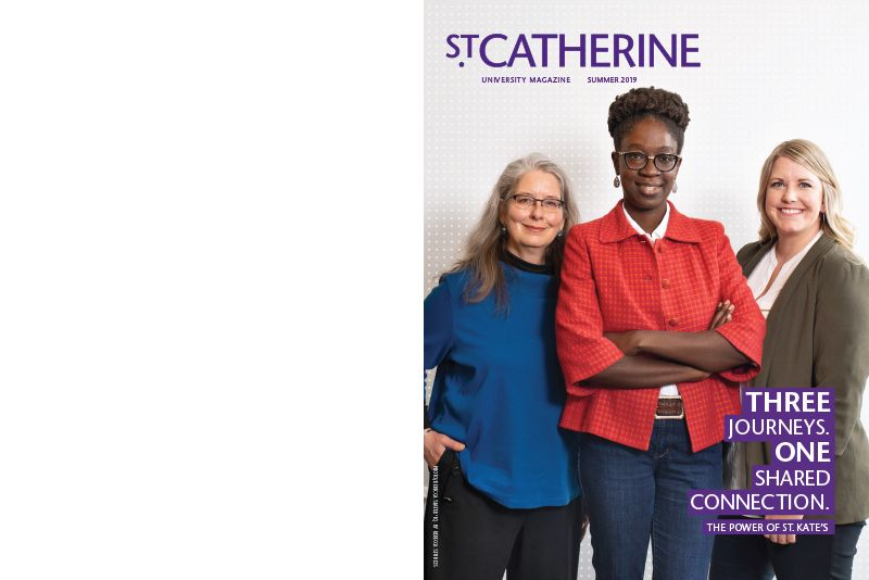 Cover of St. Catherine Magazine Summer 2019 issue, featuring three alumnae