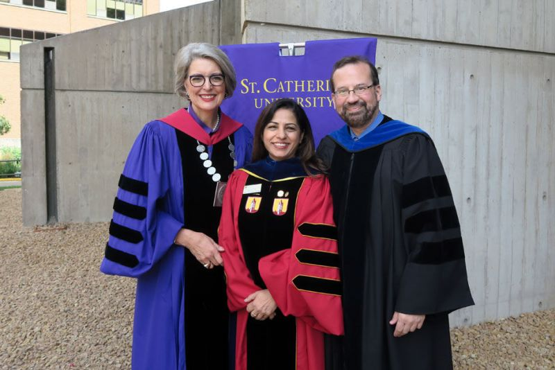 In September 2017, Professor Anupama Pasricha, International eco-fashion expert, received St. Catherine University's Bonnie Jean Kelly and Joan Kelly Award for faculty excellence for her outstanding accomplishments in teaching and scholarship. Photo by Sharon Rolenc