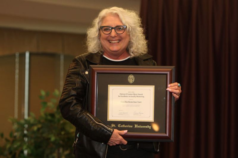 English Professor Cecilia Konchar Farr was recognized during the event with the Patricia O'Connor Myser Award for Excellence in Faculty Mentoring.