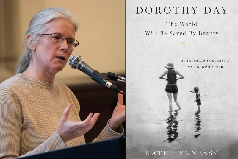 Kate Hennessy, the youngest of Dorothy Day's nine grandchildren, is the author of Dorothy Day: The World Will Be Saved By Beauty: An Intimate Portrait of My Grandmother. She used St. Catherine University's Archives and Special Collections to do research for the book, and returned to St. Kate's in 2017 to speak at a public event, and a brown bag event for faculty and staff, and to students in Professor Colleen Carpenter's theology class. for