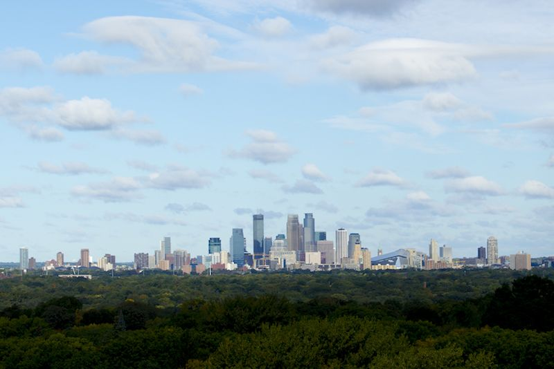 View of the Minneapolis downtown skyline taken from the roof of Mendel on the St. Paul campus