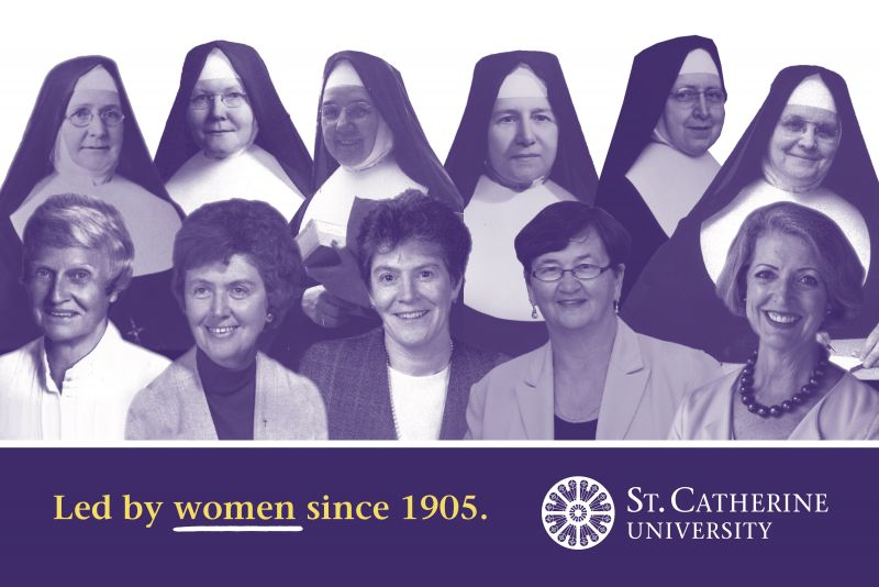 Led by women since 1905. Portrait collage of the 11 presidents of St. Kate's