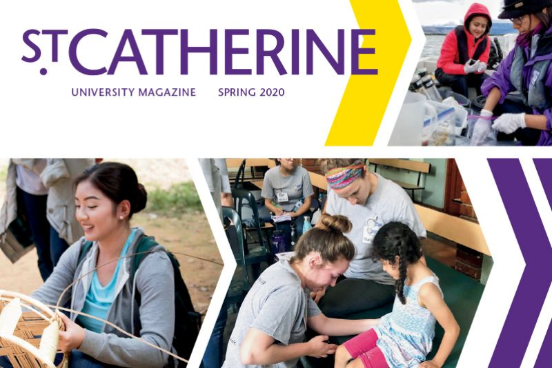 Spring 2020 St Catherine Magazine cover images of students out in the community