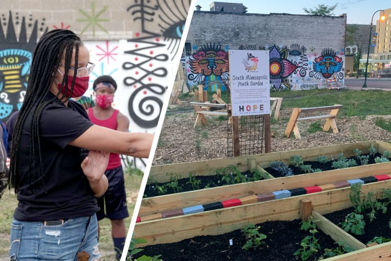 Split image: On the left is an image of St. Catherine University student Mary Claire Francois '23 in a black shirt and red facemask. On the right is an image of the South Minneapolis Youth Garden, one of Francois' projects for her organization, The Real Minneapolis.