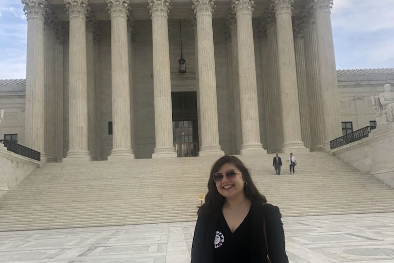 St. Kate's Truman Scholar Andrea Duarte poses at the US Supreme Court during Summer Institute