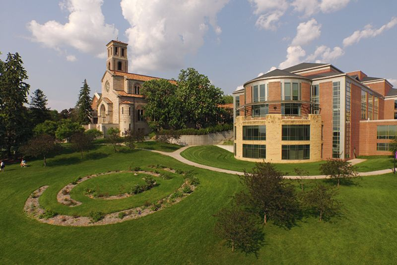 Photo of Library and Chapel plus campus grounds