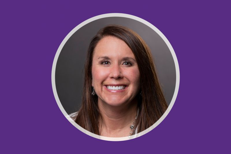 Portrait of St. Catherine University nursing alum Jessie Thurber-Dean RNC, BSN'03, who serves as the chief nursing officer of St. Anthony North Health Campus Hospital in Colorado. Portrait in circle with purple background.