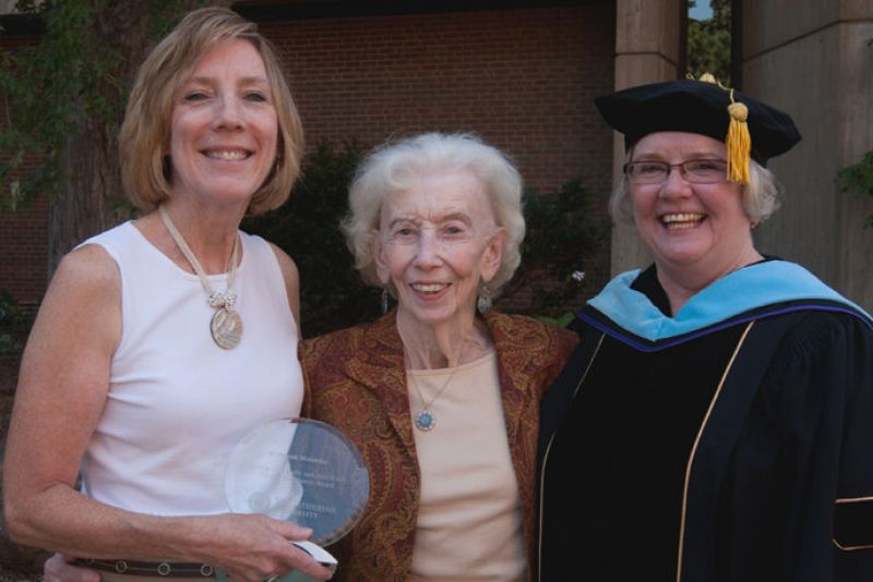 Joan Kelly '46 with EVP and Provost Colleen Hegranes and Professor Kathleen Matuska, the 2012 Bonnie Jean Kelly and Joan Kelly Award for Faculty Excellence winner.