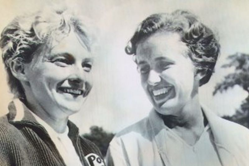 Jeanne Arth '56, and her tennis partner Darlene Hard after winning the women's doubles title at the U.S. Championship in 1958.
