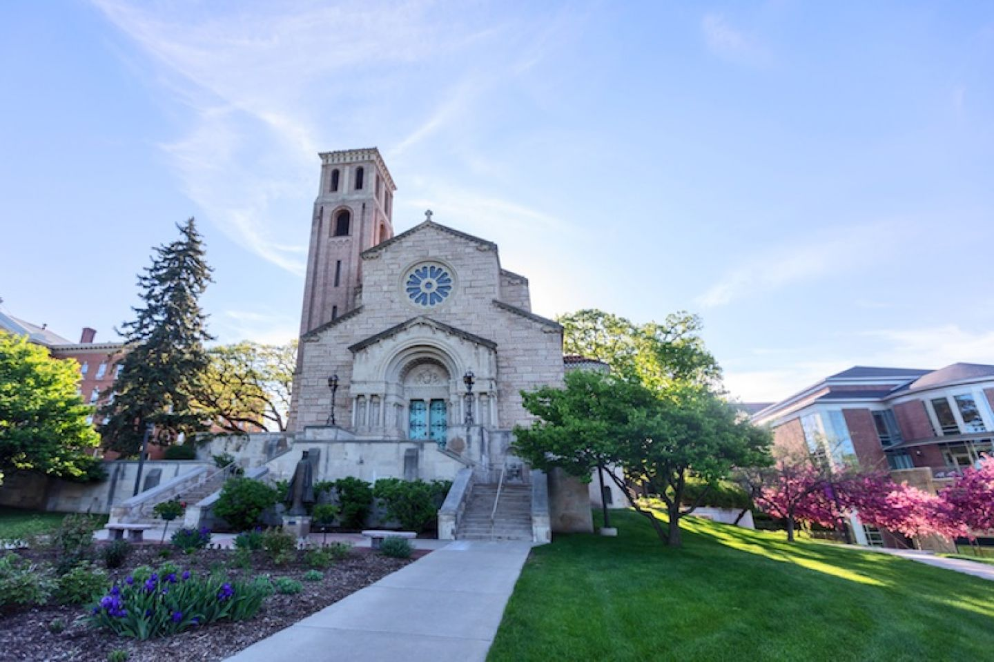 Our Lady of Victory Chapel, with the student center in the background
