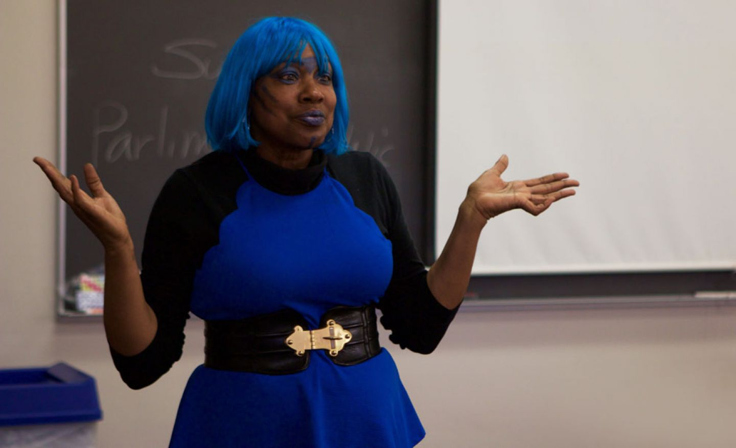 Kosmo Blu (aka English Professor Pamela Fletcher) leads an exploration through the history and importance of futuristic writers of color. Photo by Ryan Johnson '19.