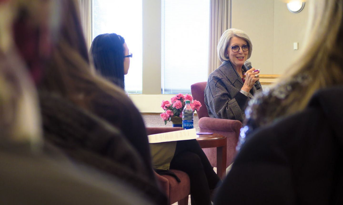 President Becky Roloff, with co-facilitator Dalee Lor '18. President Becky Roloff sat down with more than 30 St. Kate's students in Rauenhorst Ballroom for an exclusive informational interview hosted by Career Development. Photo by Pauline Oo.