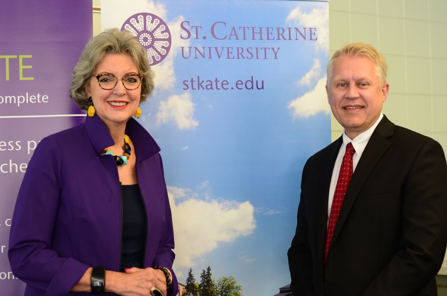 St. Catherine University president Becky Roloff '76 and Inver Hills Community College interim president Michael Berndt