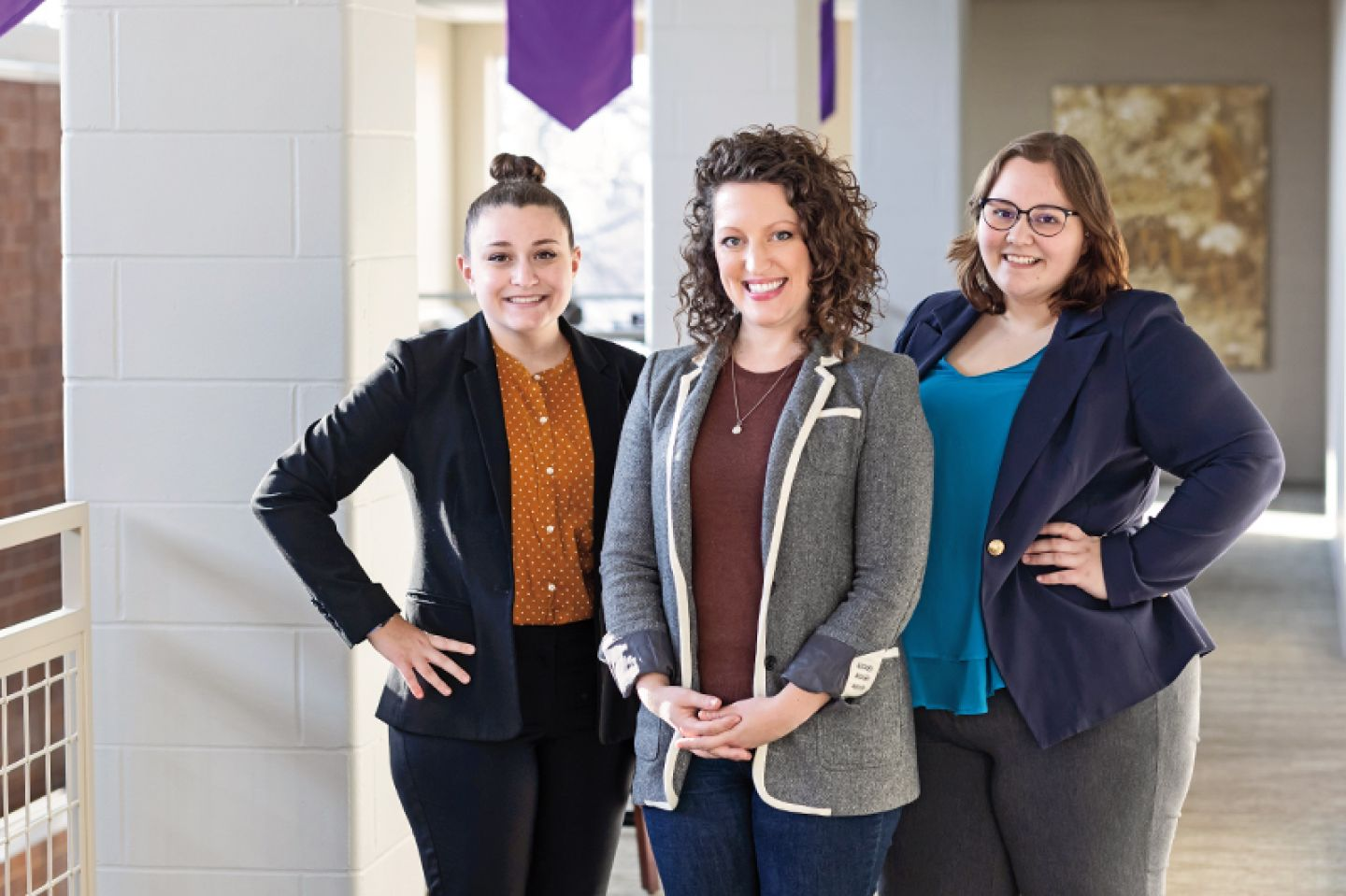 Professor Katie Campbell, Ph.D., flanked by nursing majors Meghan Landry '21 (left) and Meghan Katers '21 are in year three of a collaborative undergraduate research project, which has engaged mayo clinic  And received high accolades from the university.