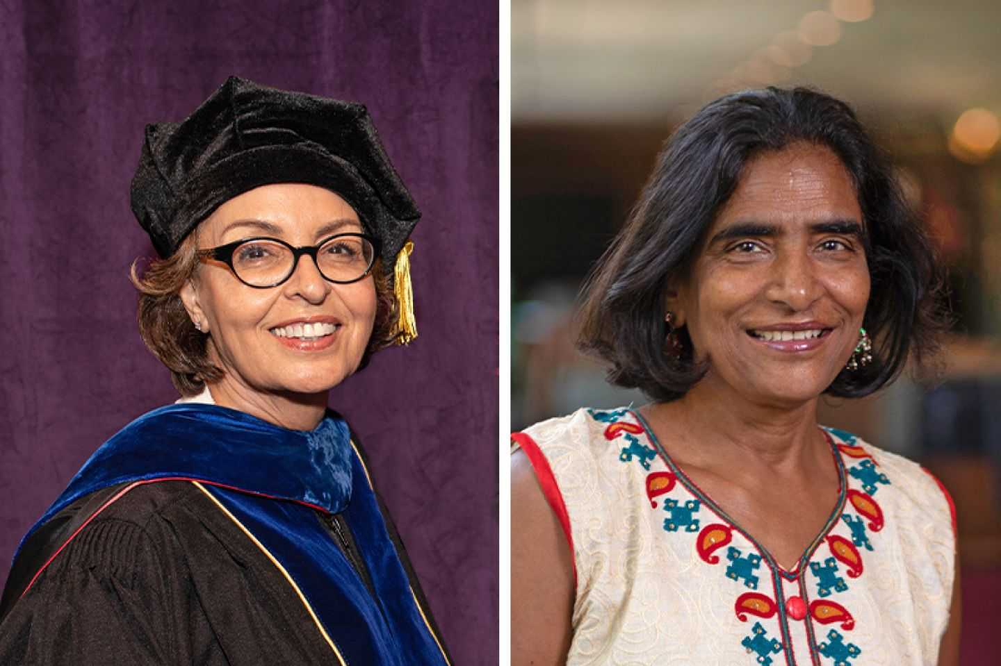 St. Kate's Economics Professor Nasrin Jewell and Professor Emerita Deep Shikha