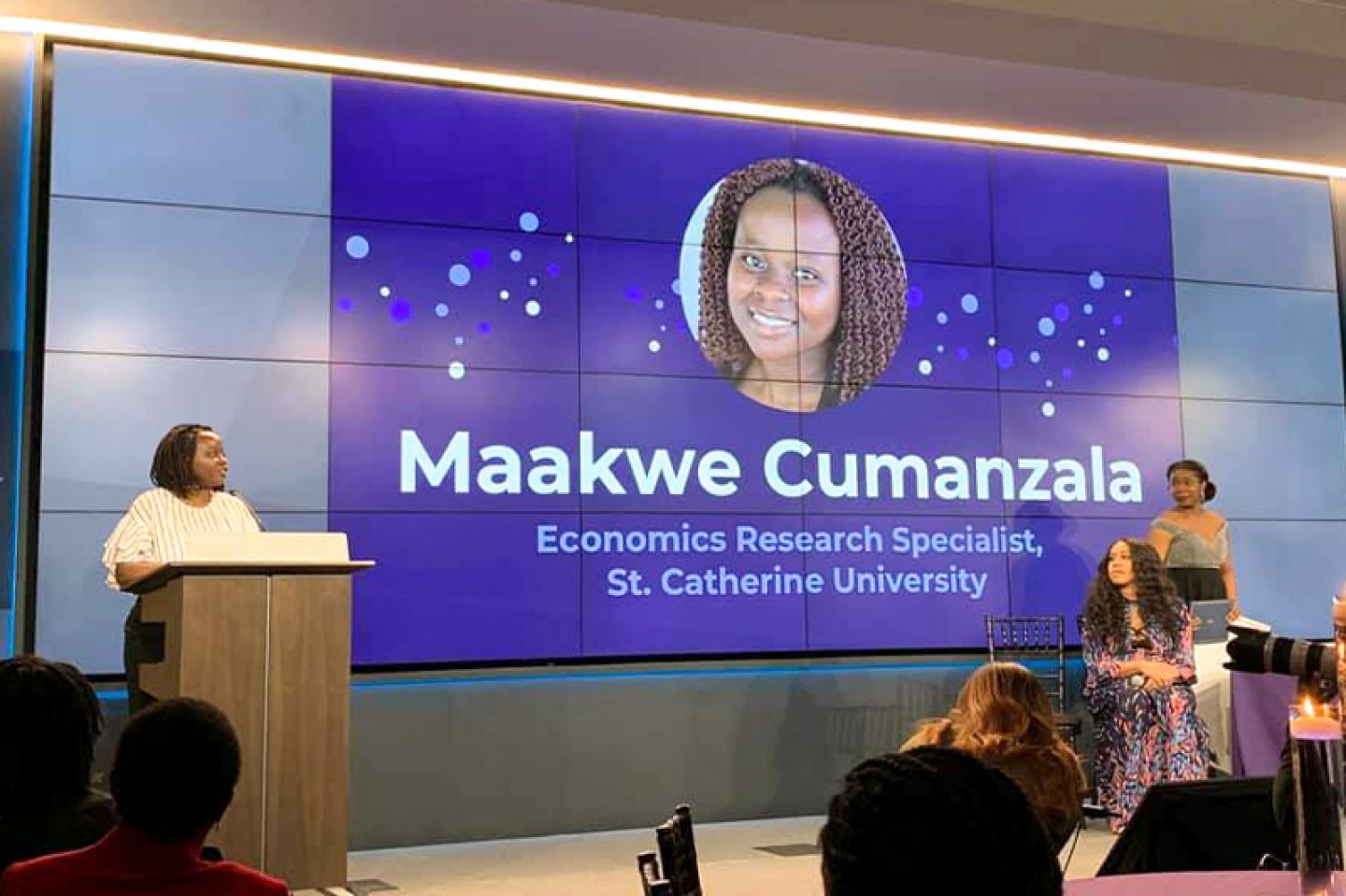 St. Kate's student Maakwe Cumanzala speaking at the 2020 Sadie TM Conference for Economics
