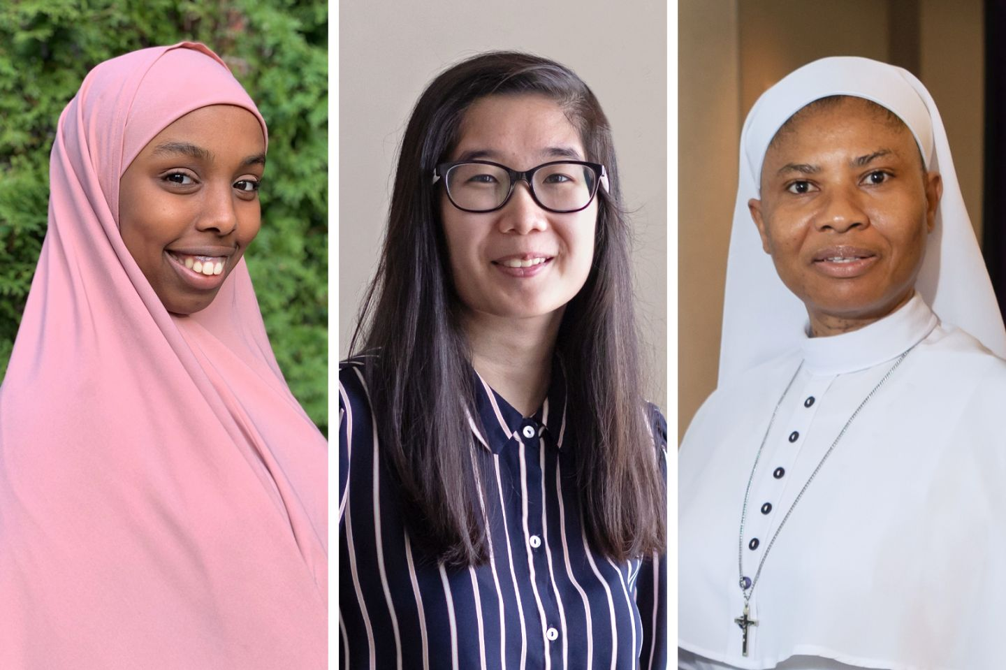 Headshots of Master of Public Health in Global Health students, Nastehakeyf Sheikhomar MPH'22 (in pink) and Vy Phung MPH'21 (in stripes), and Assistant Professor of Public Health Sr. Angela Ekwonye, PhD (in white)