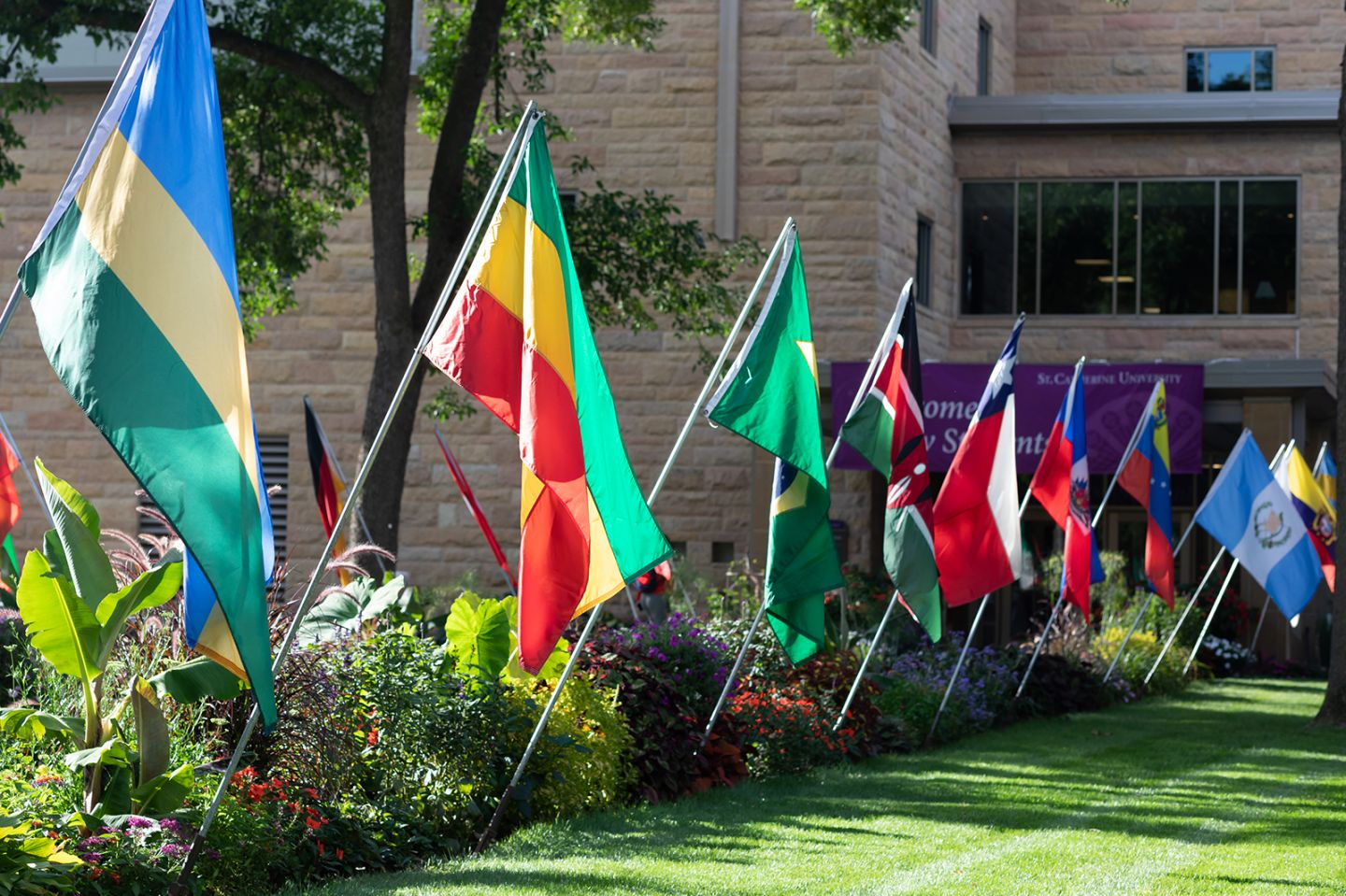 International flags symbolizing connections to international communities