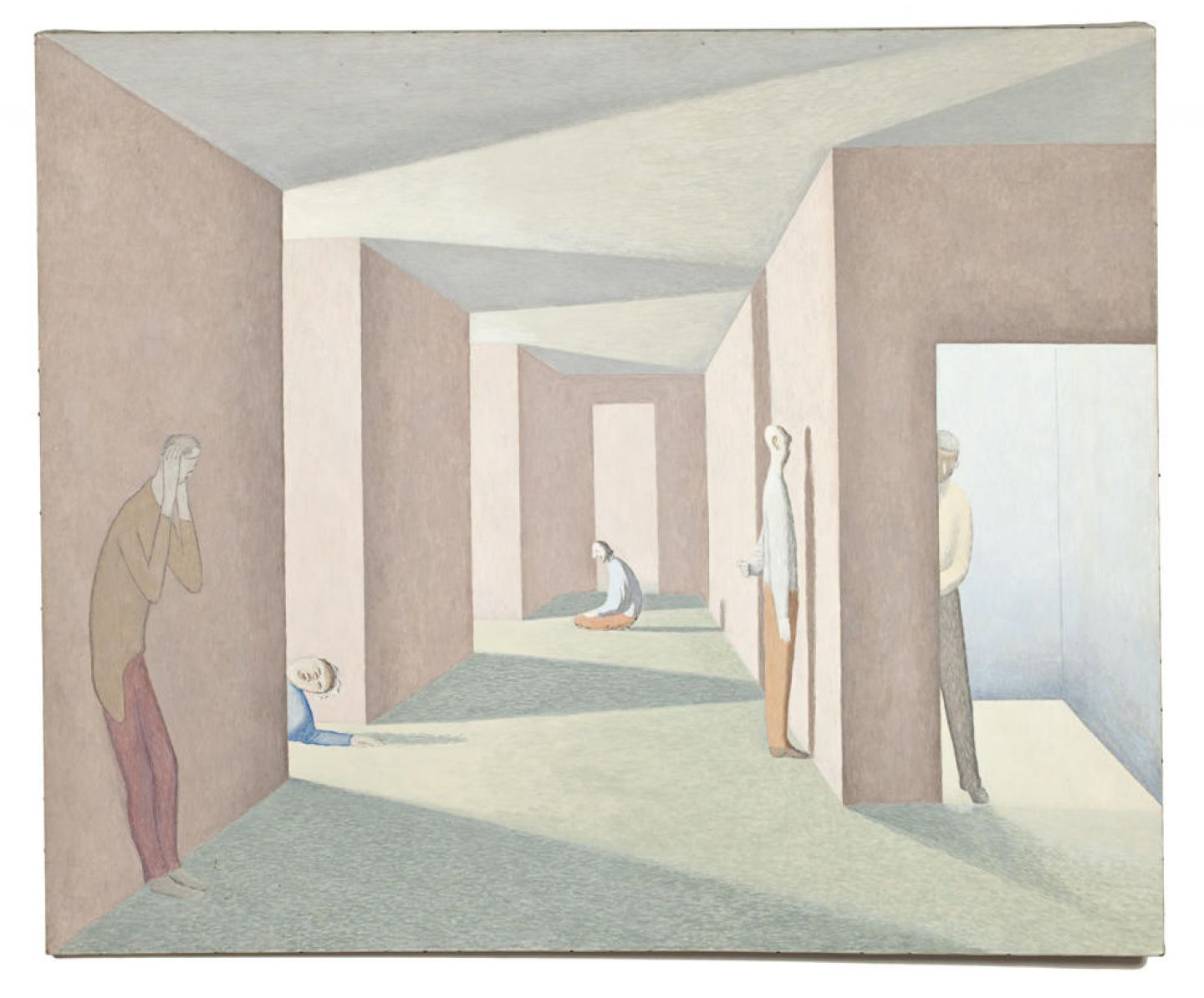 A painting of a hallway in muted colors. Light pours in from doorways/openings into the hallway, casting shadows in geometric patterns. There are flattened human figures, some leaning against walls, one kneeling, and one lying down.