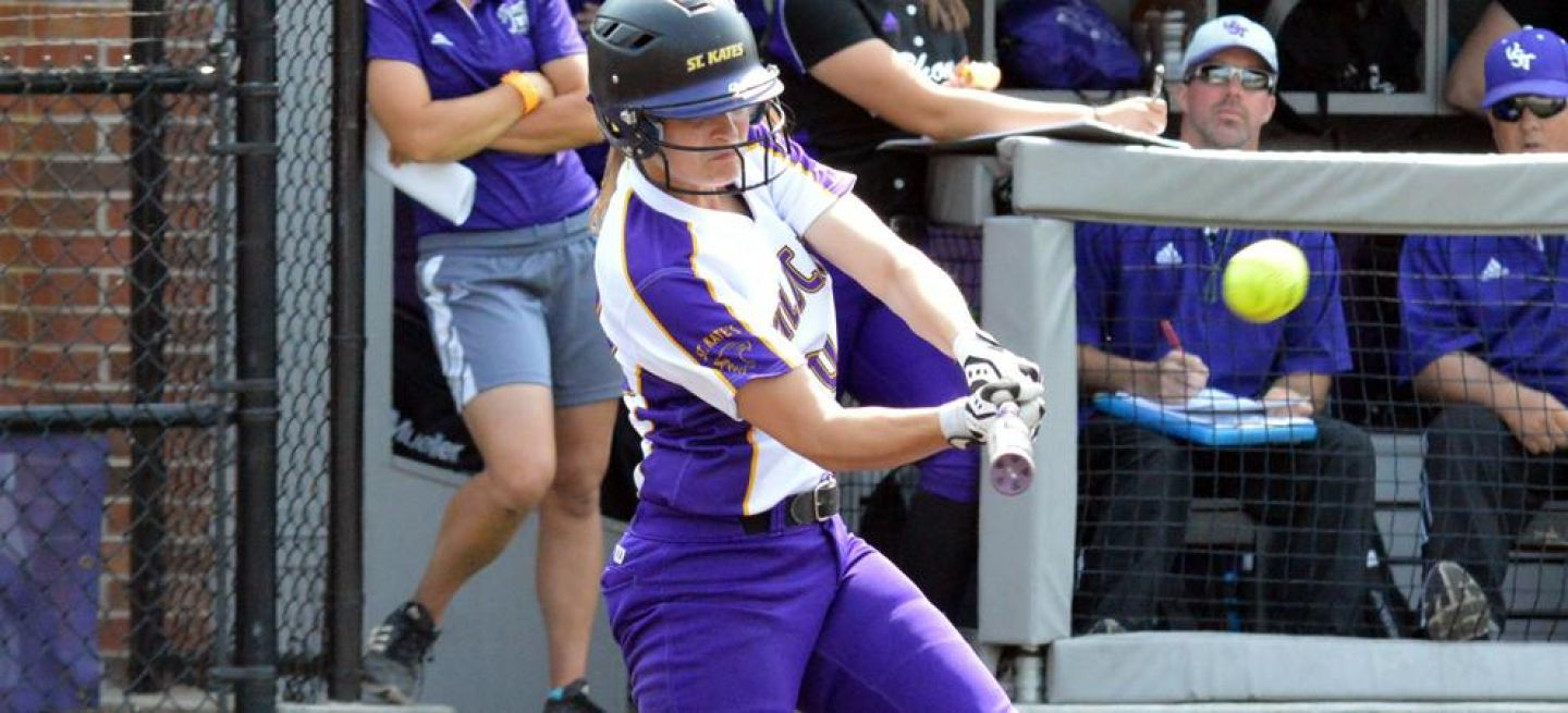 Megan Lindenfelser's home-run swing propelled the Wildcats forward in the first game against St. Thomas Sunday, May 8, 2016. Photo by Matt Higgins, MIAC.