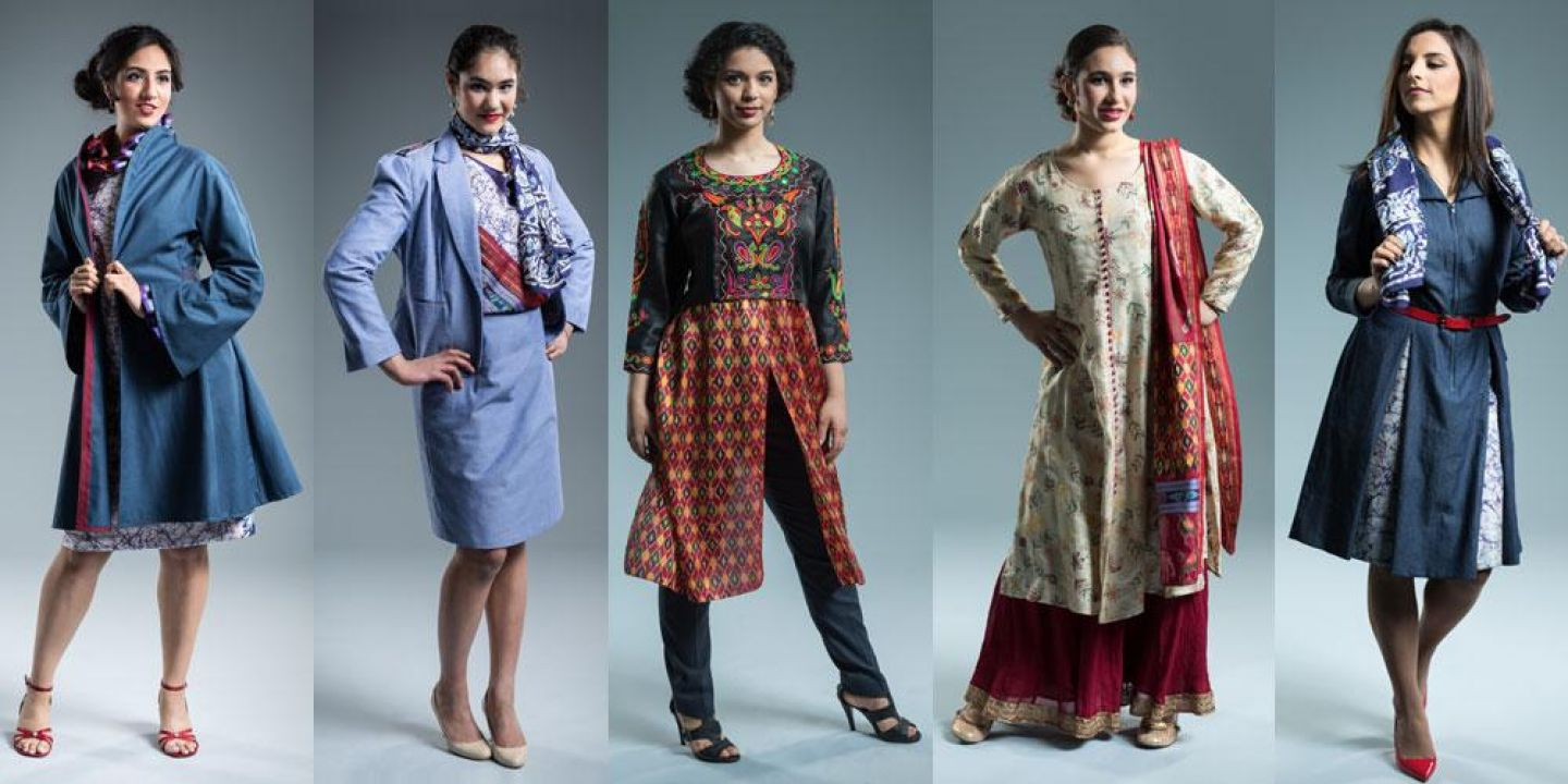 Five of the six looks from Anupama Pasricha's R.I.S.E. Collection (Repurposed. Indian. Sustainable. Eco-friendly.). Photos by BobbiLe Nadiaye Photography