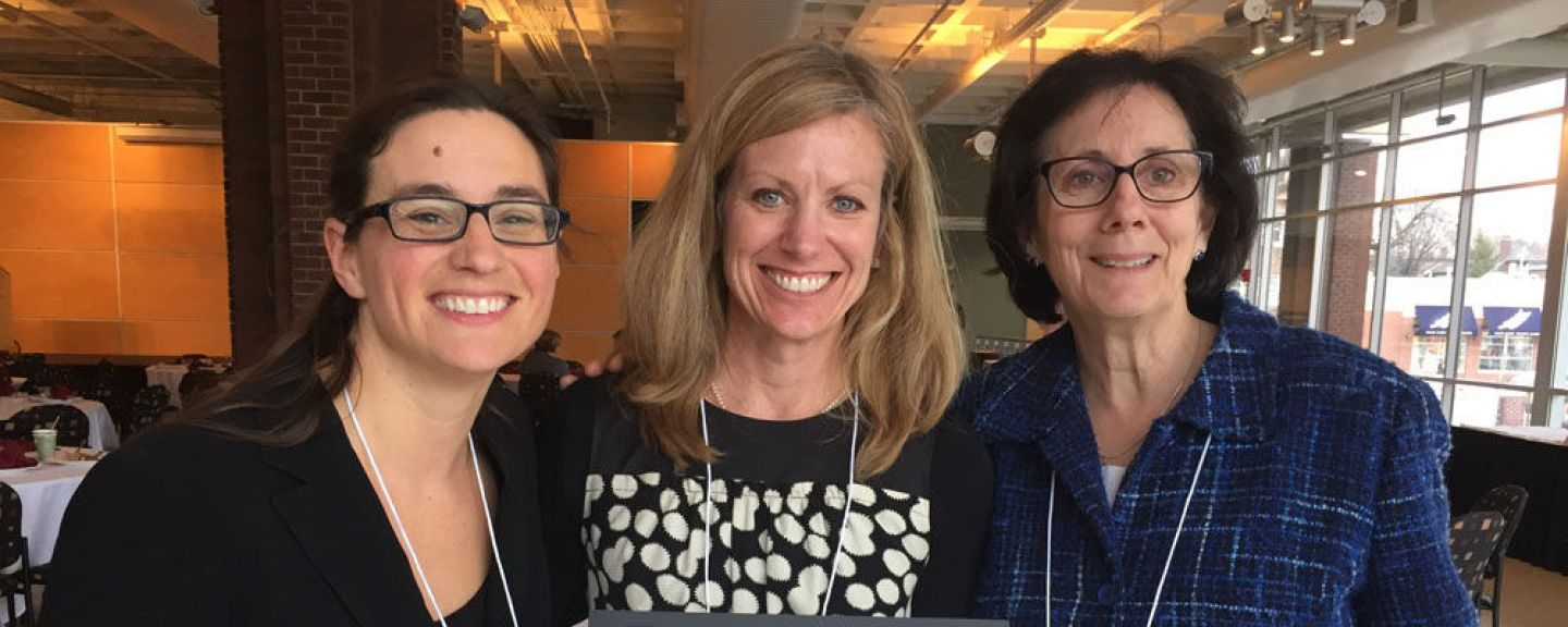 Center for Community Work and Learning's D'Ann Urbaniak Lesch with nursing faculty Lisa Marien and Margaret Dexheimer Pharris at the Minnesota Campus Compact awards luncheon. Marien was one of this year's (2016's) honorees.