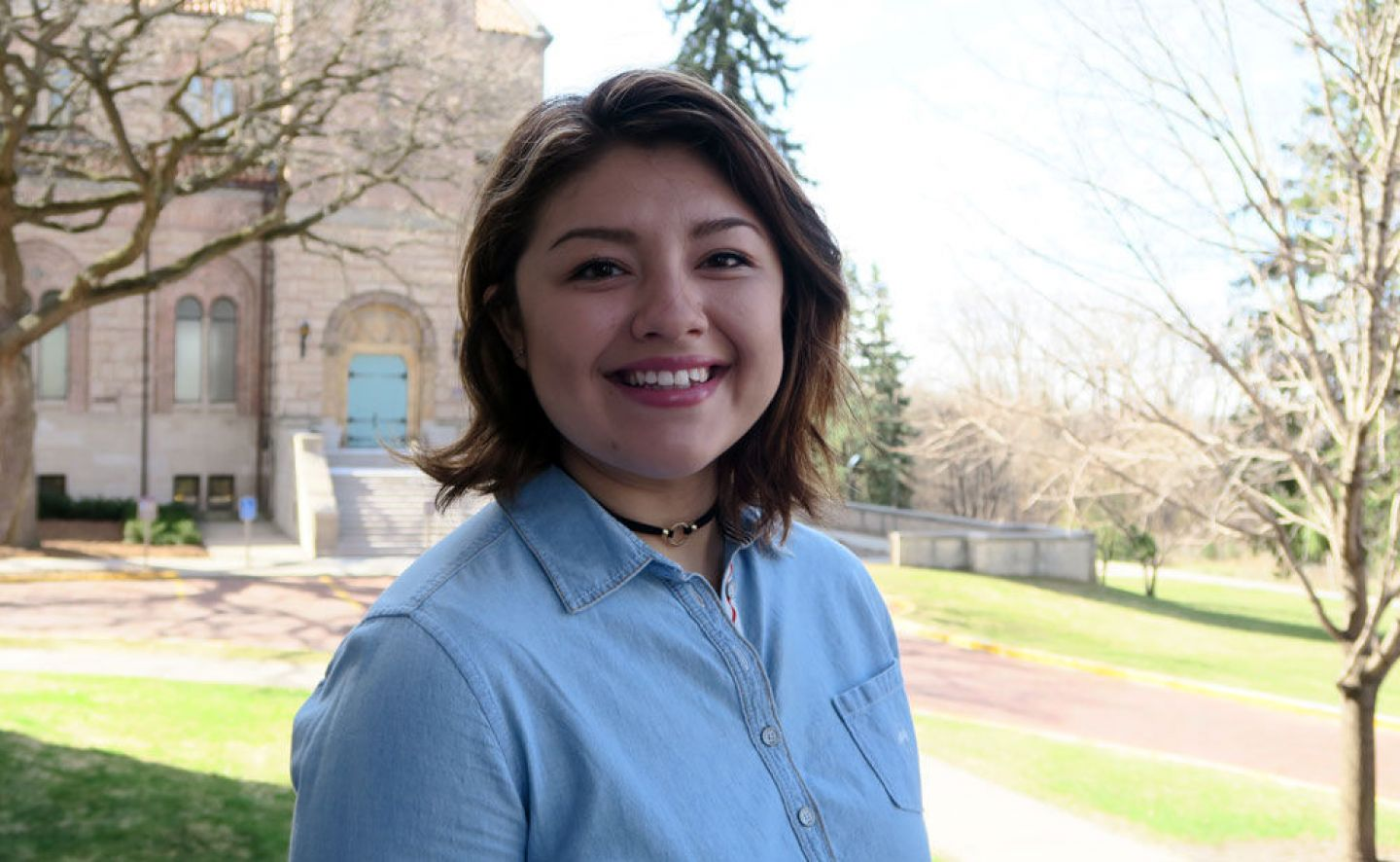 In 2017, political science major Andrea Duarte '19 was recently selected as one of six Minnesota private college students to receive the prestigious $16,500 Phillips Scholarship. She aims to capture Latino immigrant stories to influence public policy efforts and build community understanding. Photo by Sharon Rolenc
