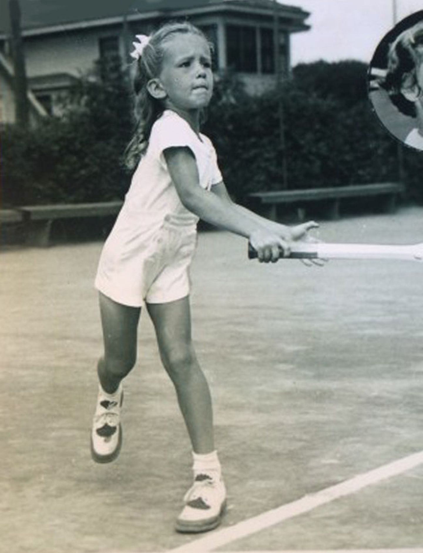 Jeanne Arth playing tennis at age 6; this St. Kate's alum is the most decorated professional female tennis player in Minnesota history.