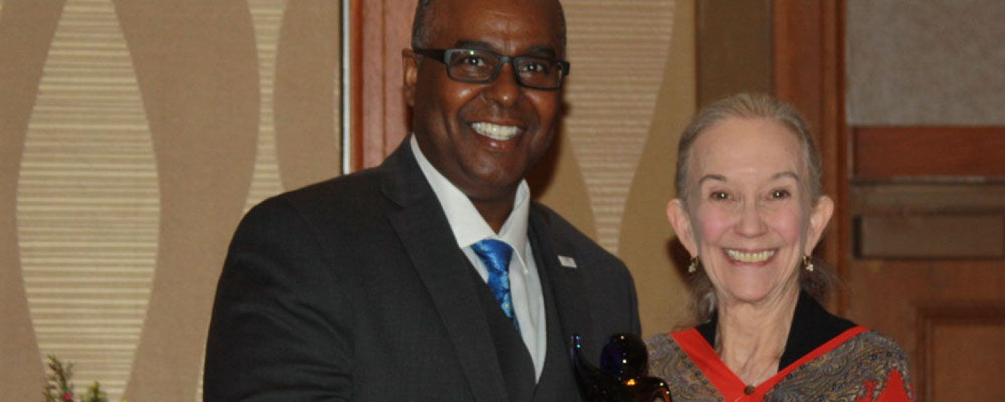 Barbara Shank with Dr. DuWayne Battle of Rutgers, president of the Association of Baccalaureate Social Work Program Directors. The association honoted her with its Significant Lifetime Achievement Award at its Annual Banquet on April 2, 2016.